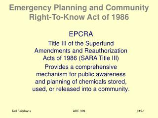 Emergency Planning and Community Right-To-Know Act of 1986