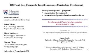 TBLT and Less Commonly Taught Languages Curriculum Development