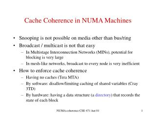 Cache Coherence in NUMA Machines