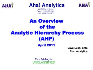 An Overview  of the  Analytic Hierarchy Process (AHP) April 2011