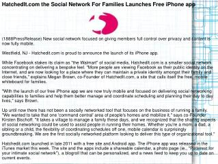 HatchedIt.com the Social Network For Families Launches Free