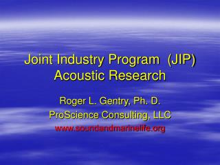 Joint Industry Program  (JIP) Acoustic Research