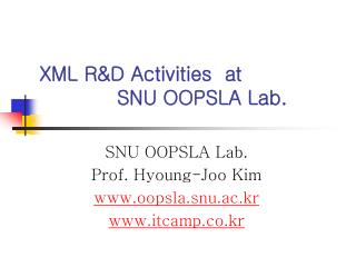 XML R&D Activities  at               SNU OOPSLA Lab.