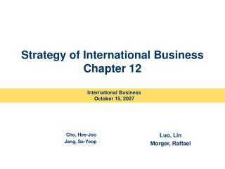 Strategy of International Business Chapter 12