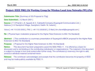 Project: IEEE P802.11b Working Group for Wireless Local Area Networks (WLANs)