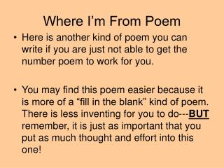 Where I'm From Poem