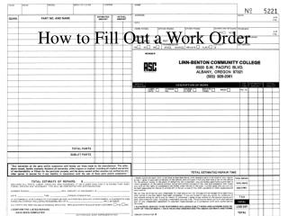 How to Fill Out a Work Order