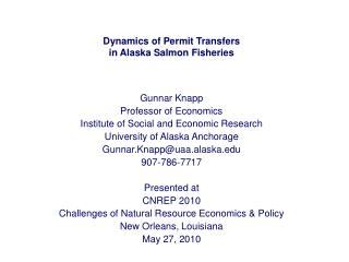 Dynamics of Permit Transfers in Alaska Salmon Fisheries
