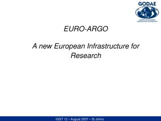 EURO-ARGO  A new European Infrastructure for Research