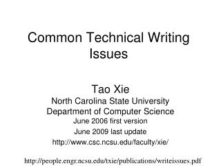Common Technical Writing Issues