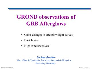 GROND observations of  GRB Afterglows