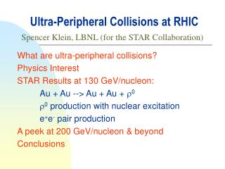 Ultra-Peripheral Collisions at RHIC