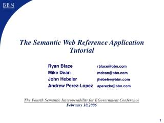 The Semantic Web Reference Application Tutorial