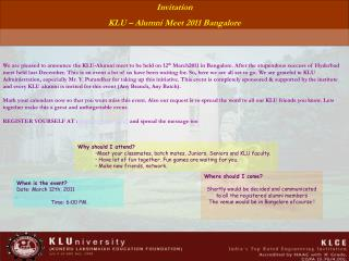 Invitation KLU – Alumni Meet 2011 Bangalore