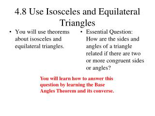 4.8 Use Isosceles and Equilateral Triangles
