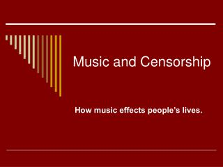 Music and Censorship