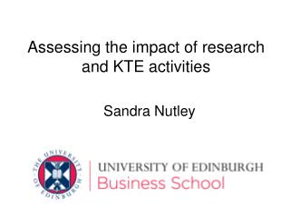 Assessing the impact of research and KTE activities