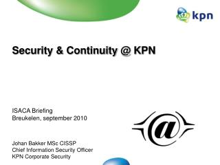 Security & Continuity  @ KPN