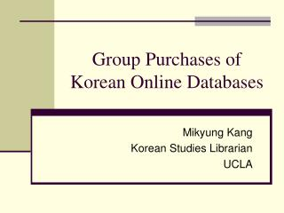 Group Purchases of Korean Online Databases