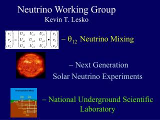 Neutrino Working Group Kevin T. Lesko