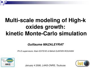 Multi-scale modeling of High-k  oxides growth:  kinetic Monte-Carlo simulation