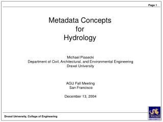 Metadata Concepts for Hydrology