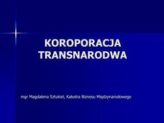 KOROPORACJA TRANSNARODWA