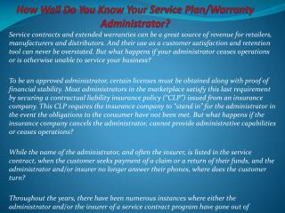 How Well Do You Know Your Service Plan/Warranty Administrato