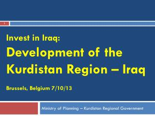 Ministry of Planning – Kurdistan Regional Government
