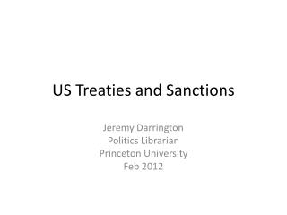 US Treaties and Sanctions