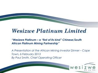 Wesizwe Platinum Limited – a Corporate Introduction
