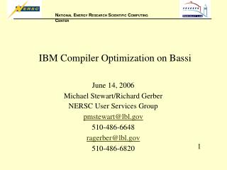 IBM Compiler Optimization on Bassi
