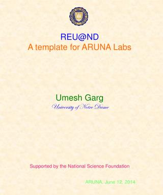 REU@ND A template for ARUNA Labs Umesh Garg University of Notre Dame