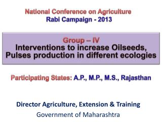 National Conference on Agriculture Rabi Campaign - 2013
