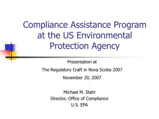 Compliance Assistance Program at the US Environmental Protection Agency