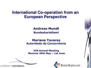 International Co-operation from an European Perspective