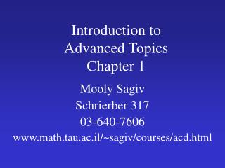 Introduction to  Advanced Topics Chapter 1