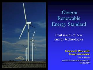 Oregon Renewable Energy Standard Cost issues of new energy technologies