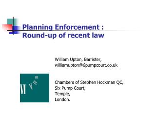 Planning Enforcement : Round-up of recent law