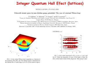 Integer Quantum Hall Efect  (lattices)