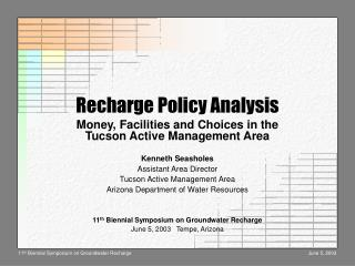 Recharge Policy Analysis