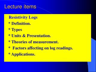 Lecture items