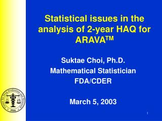 Statistical issues in the analysis of 2-year HAQ for ARAVA TM