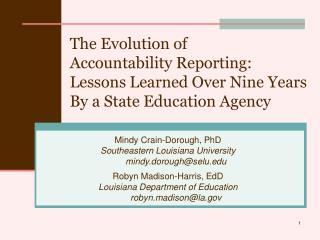Mindy Crain-Dorough, PhD Southeastern Louisiana University mindy.dorough@selu