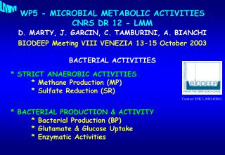 WP5 - MICROBIAL METABOLIC ACTIVITIES CNRS DR 12 - LMM