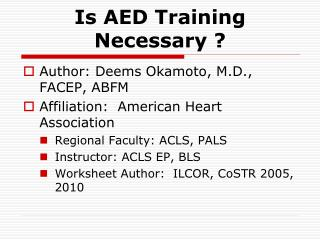 Is AED Training Necessary ?