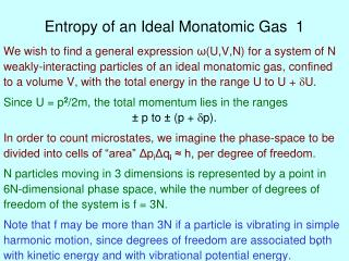 Entropy of an Ideal Monatomic Gas  1