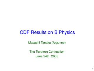 CDF Results on B Physics