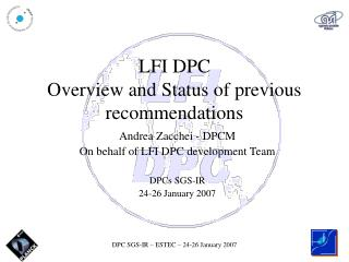 LFI DPC  Overview and Status of previous recommendations