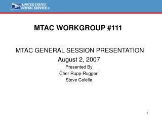 MTAC WORKGROUP #111